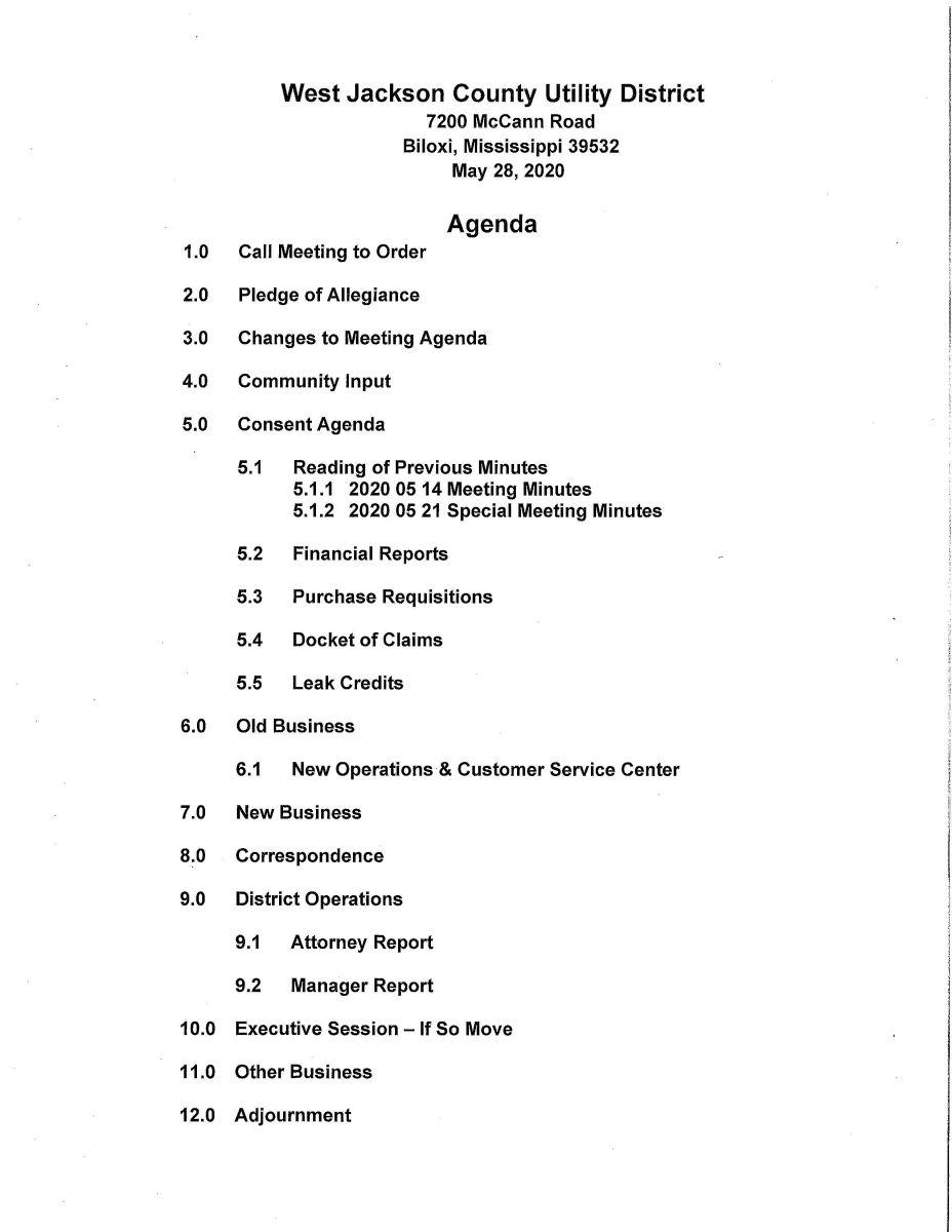 2020 05 28 Agenda